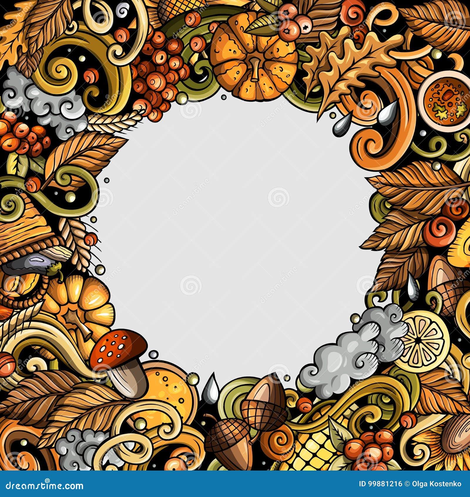 Projeto tirado do quadro do outono das garatujas dos desenhos animados mão bonito