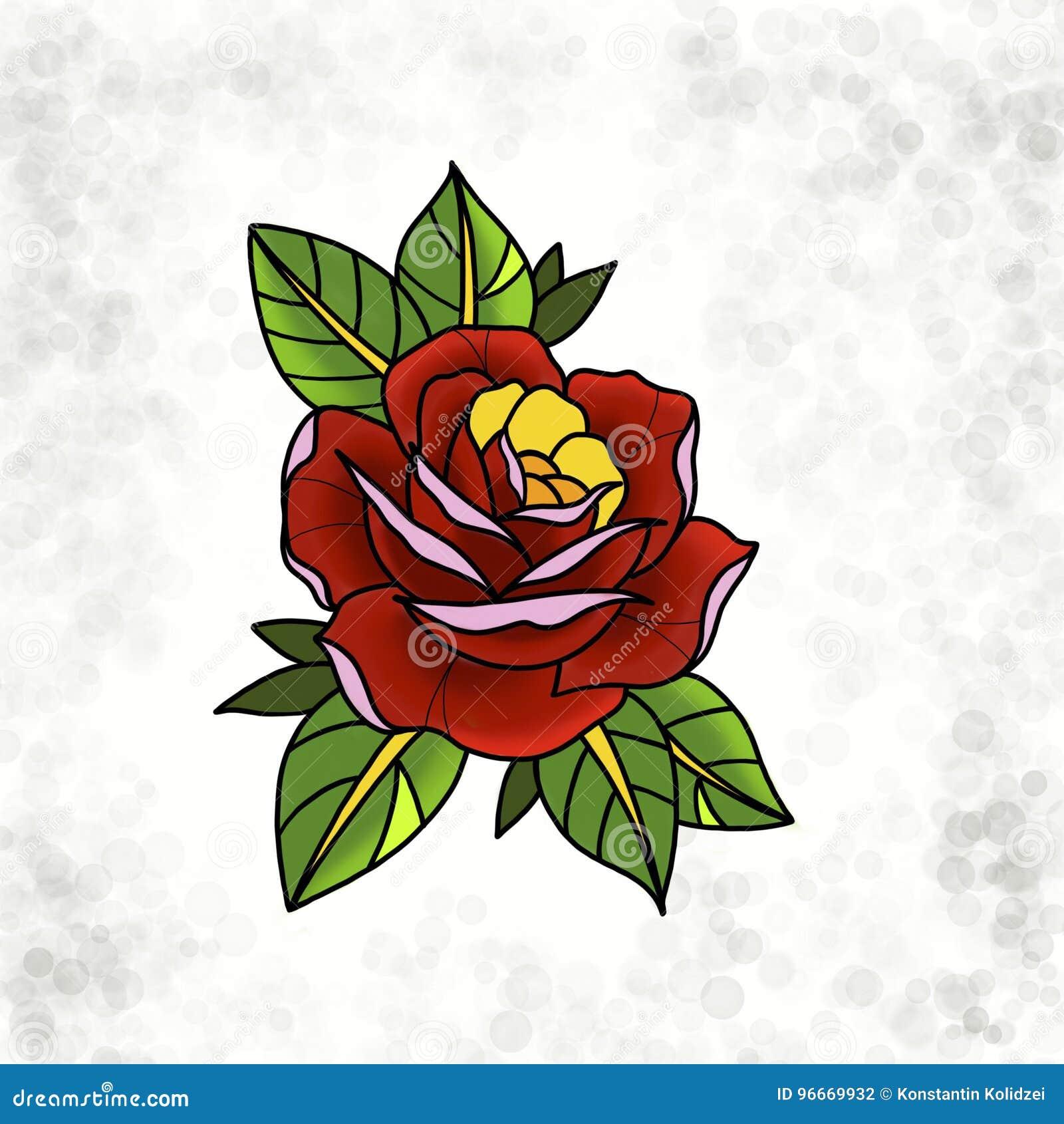 Projeto Tradicional Da Rosa Da Tatuagem Ilustracao Stock