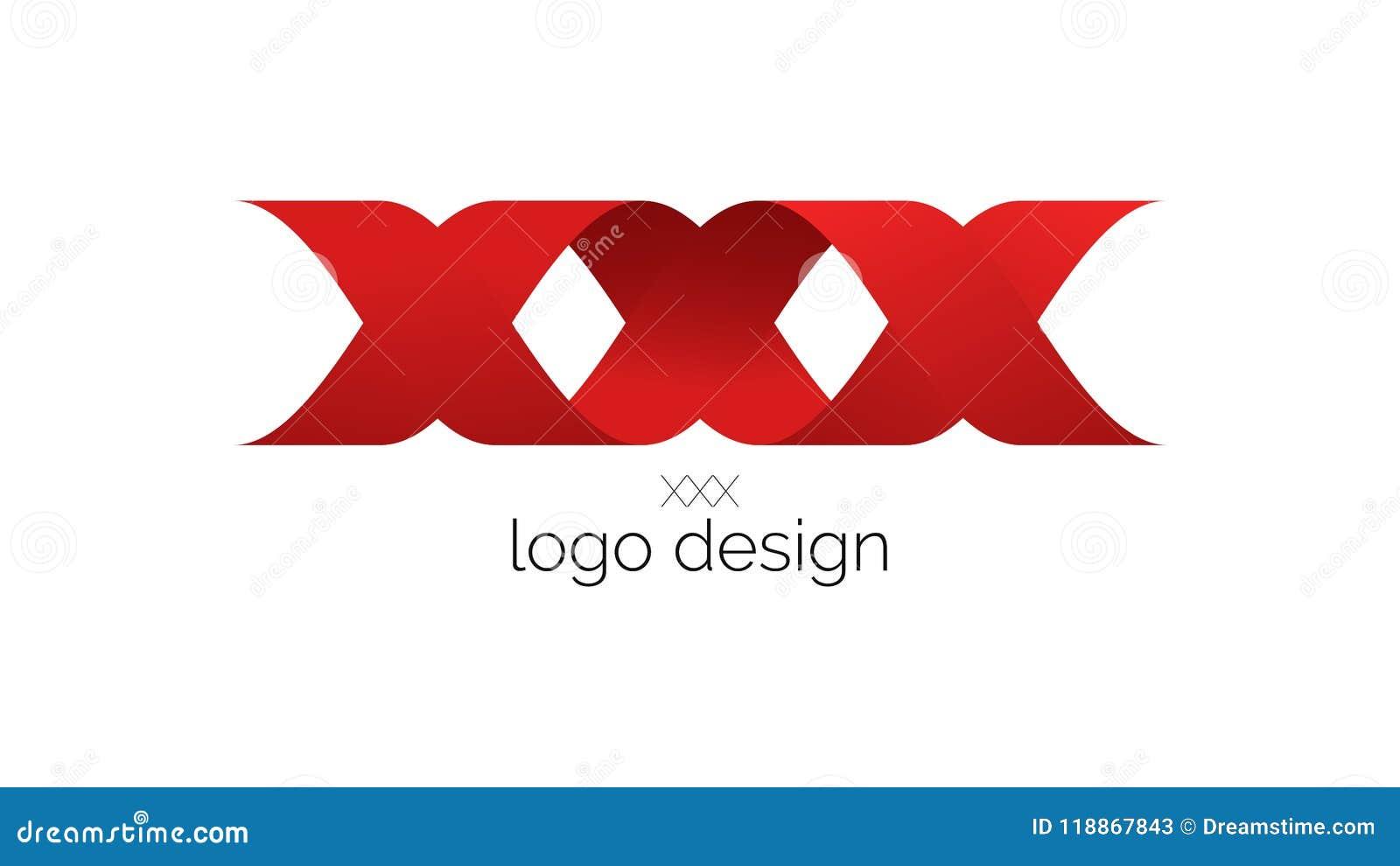 Projeto Vermelho Do Logotipo 3D Dos Beijos XXX Com 2 Fitas