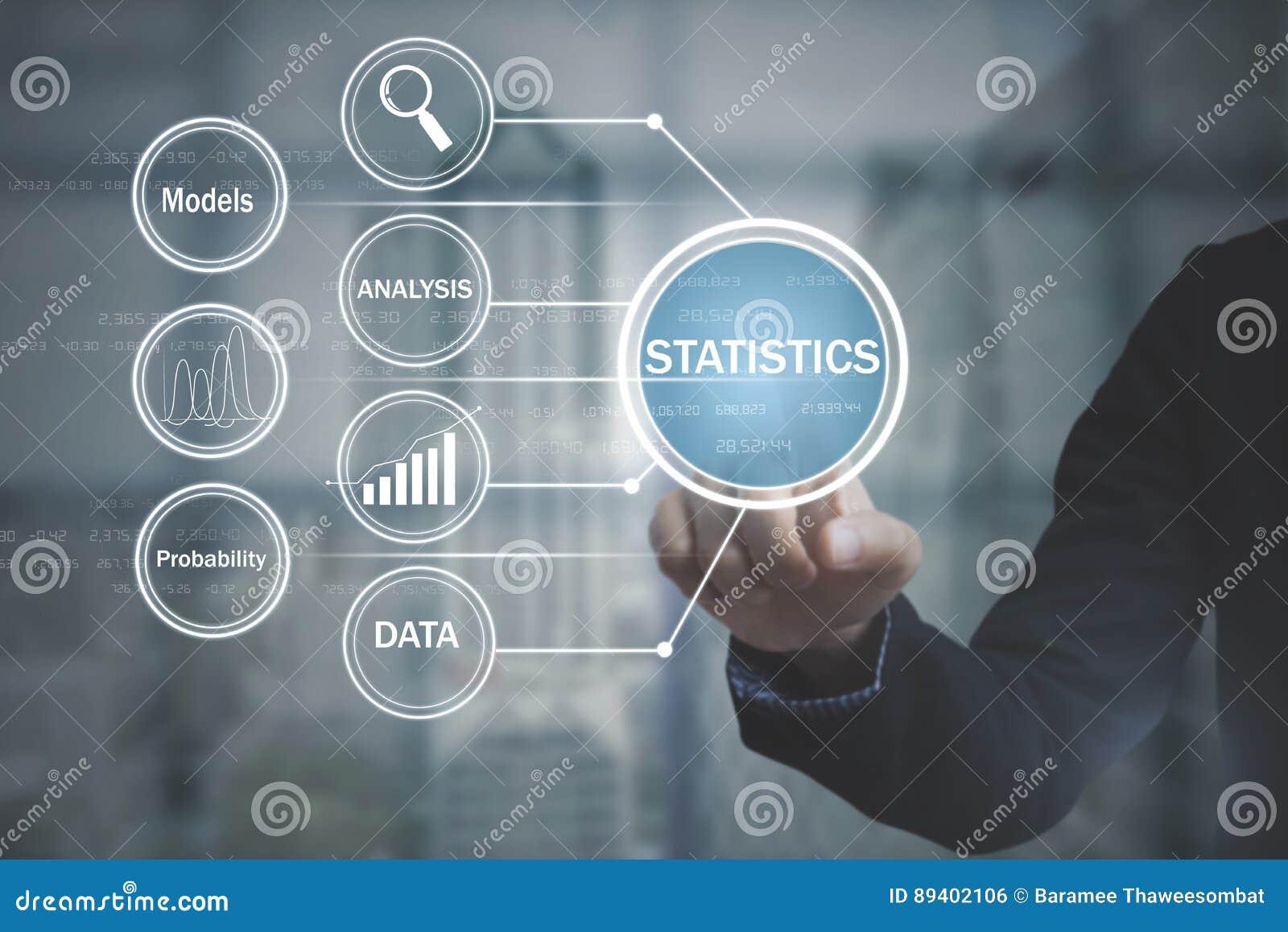 Projetor da tela do botão do negócio sobre a estatística do fluxograma