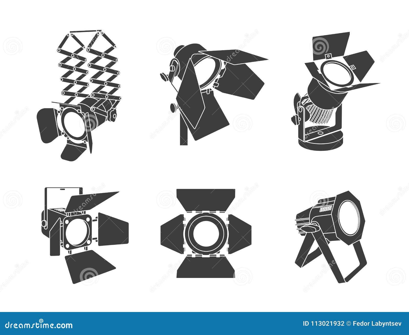 Projetor em um fundo transparente Iluminação brilhante com projetores O projetor ilumina a cena