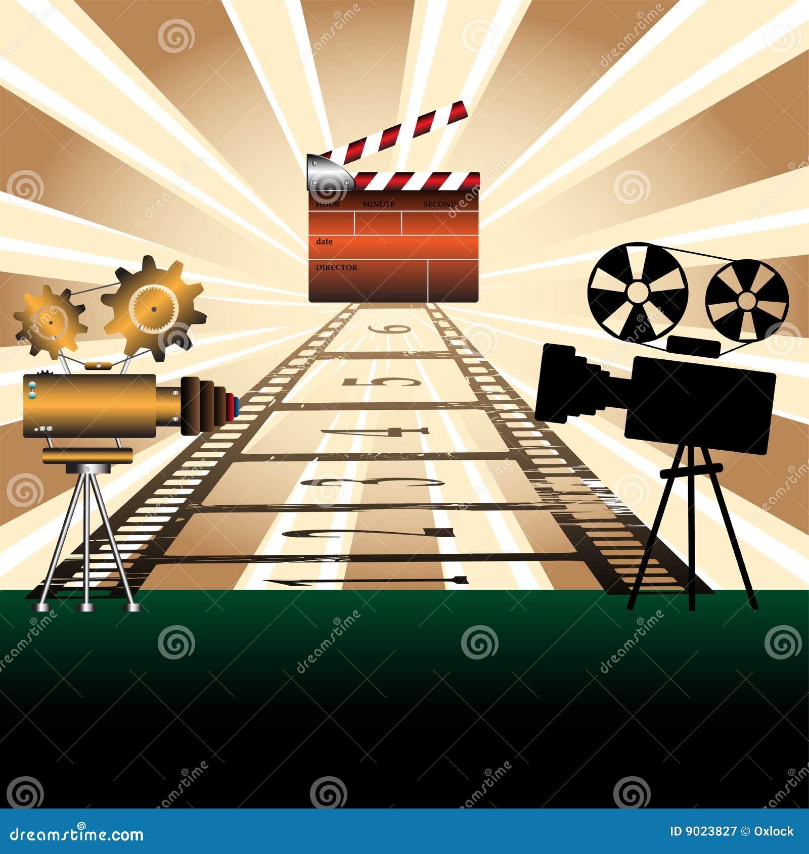 Projetores de filme e ripa