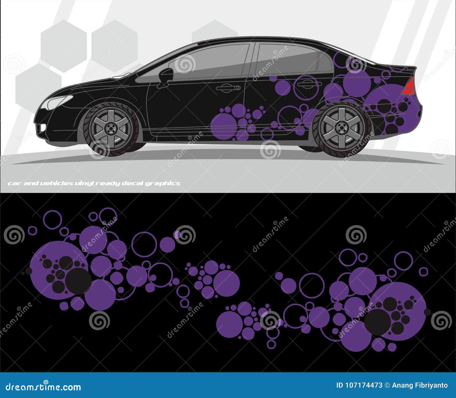 Projetos do jogo dos gráficos do decalque do carro e dos veículos apronte para imprimir e cortar para etiquetas do vinil