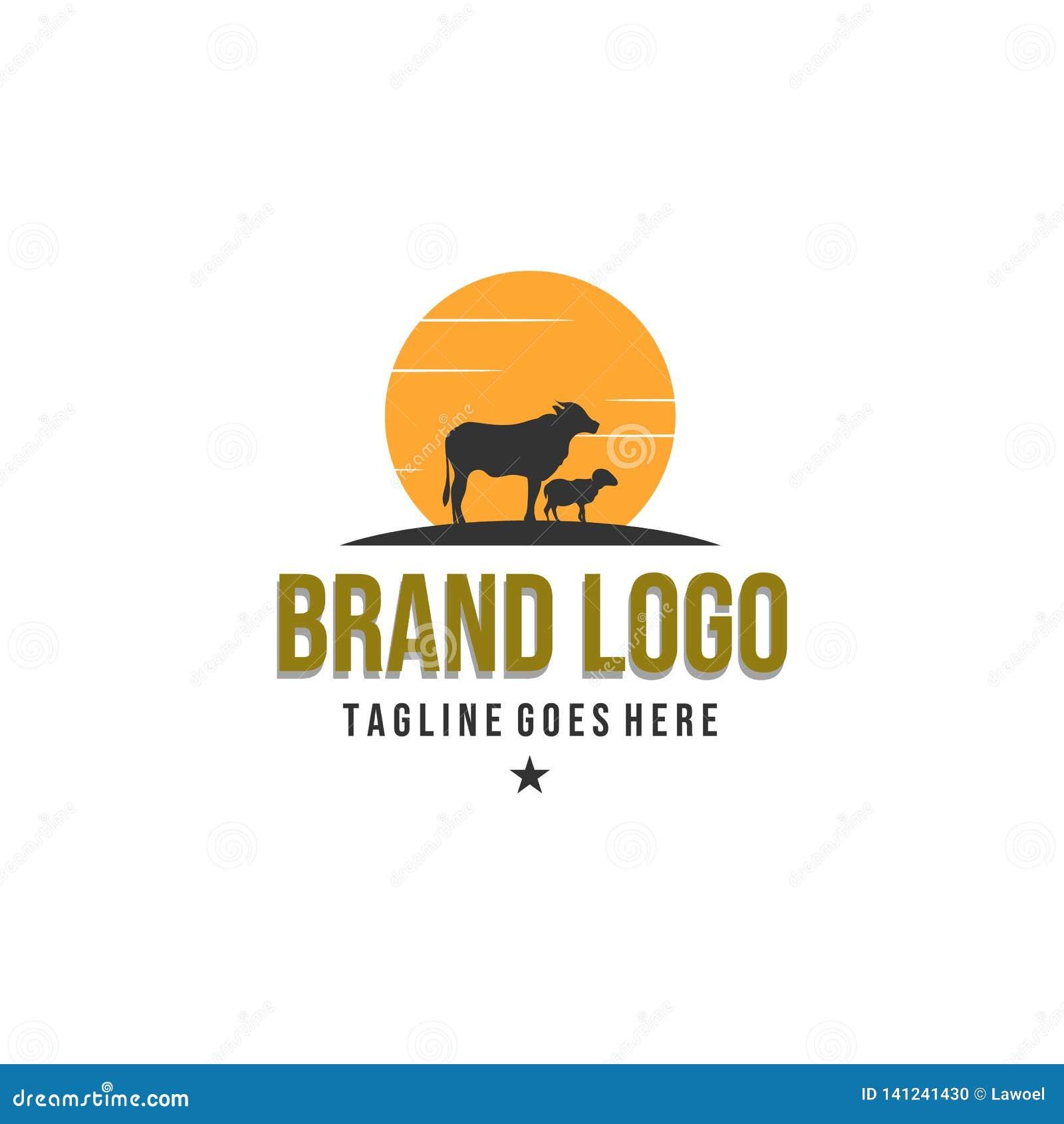 Projetos do logotipo da exploração agrícola animal, logotipo do vintage