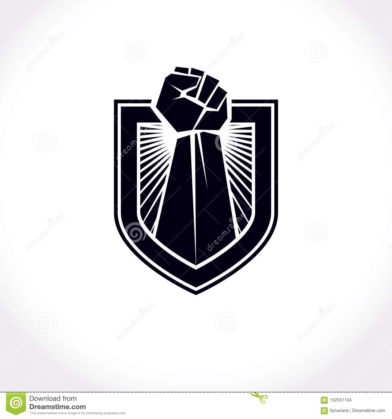 Proletarian leader abstract symbol, vector red clenched fist raised up.