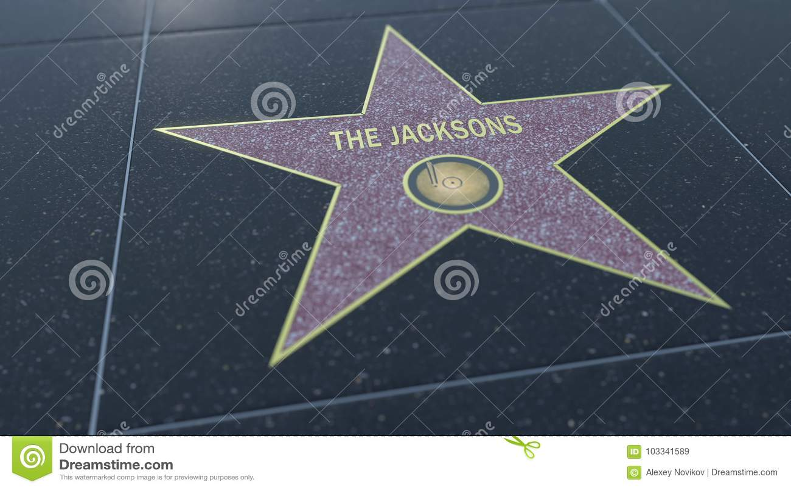 Promenade de Hollywood d étoile de renommée avec l inscription de JACKSONS Rendu 3D éditorial