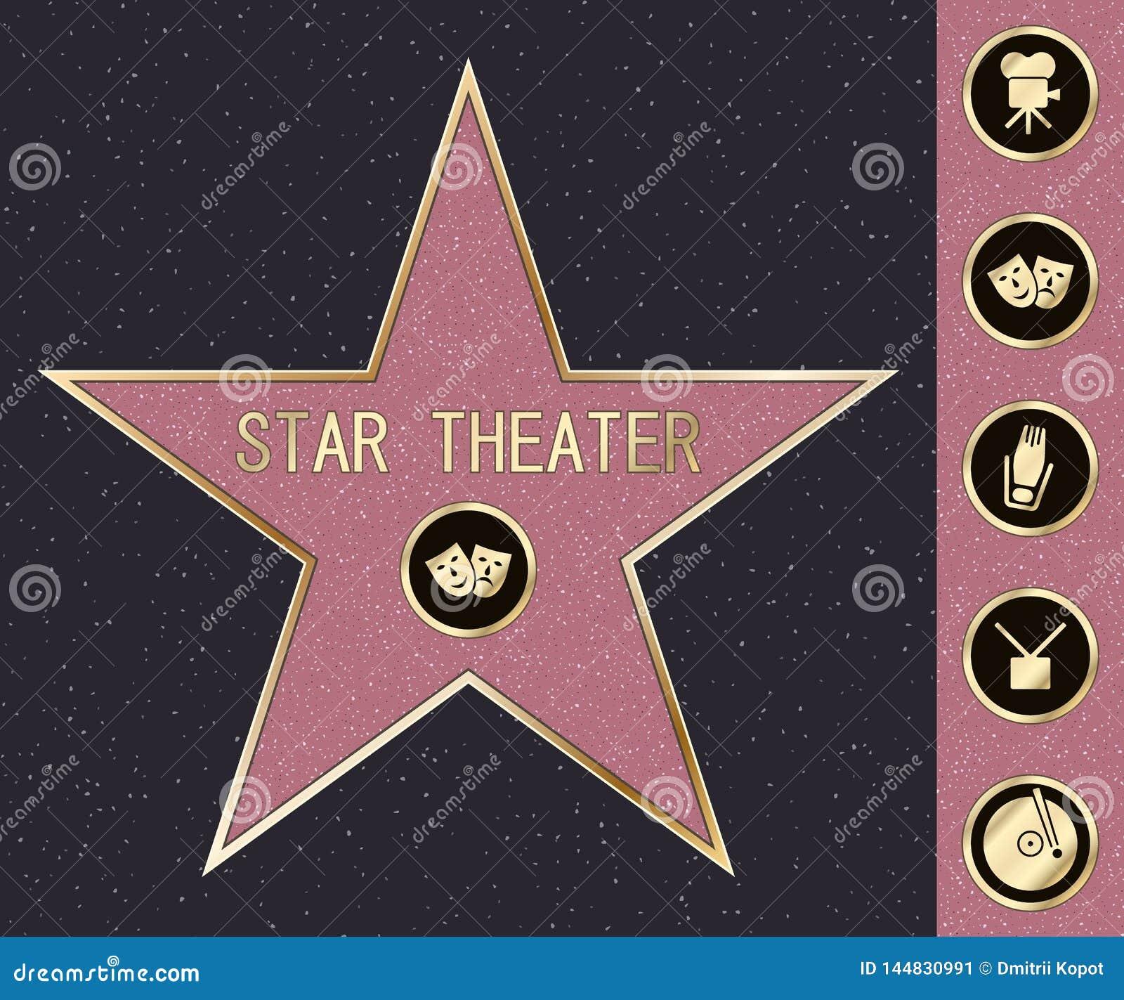 Promenade de Hollywood d ?toile de renomm?e sur le boulevard de c?l?brit? ?toile de symbole de vecteur pour l acteur iconique de