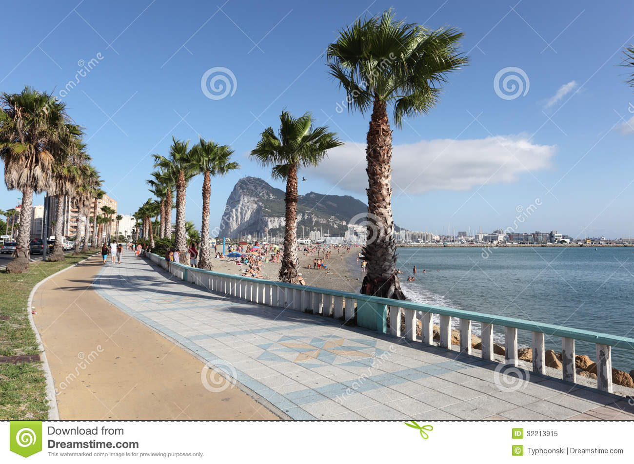 La Linea de la Concepcion Spain  city photo : Promenade in La Linea de la Concepcion, Spain. Rock of Gibraltar in ...
