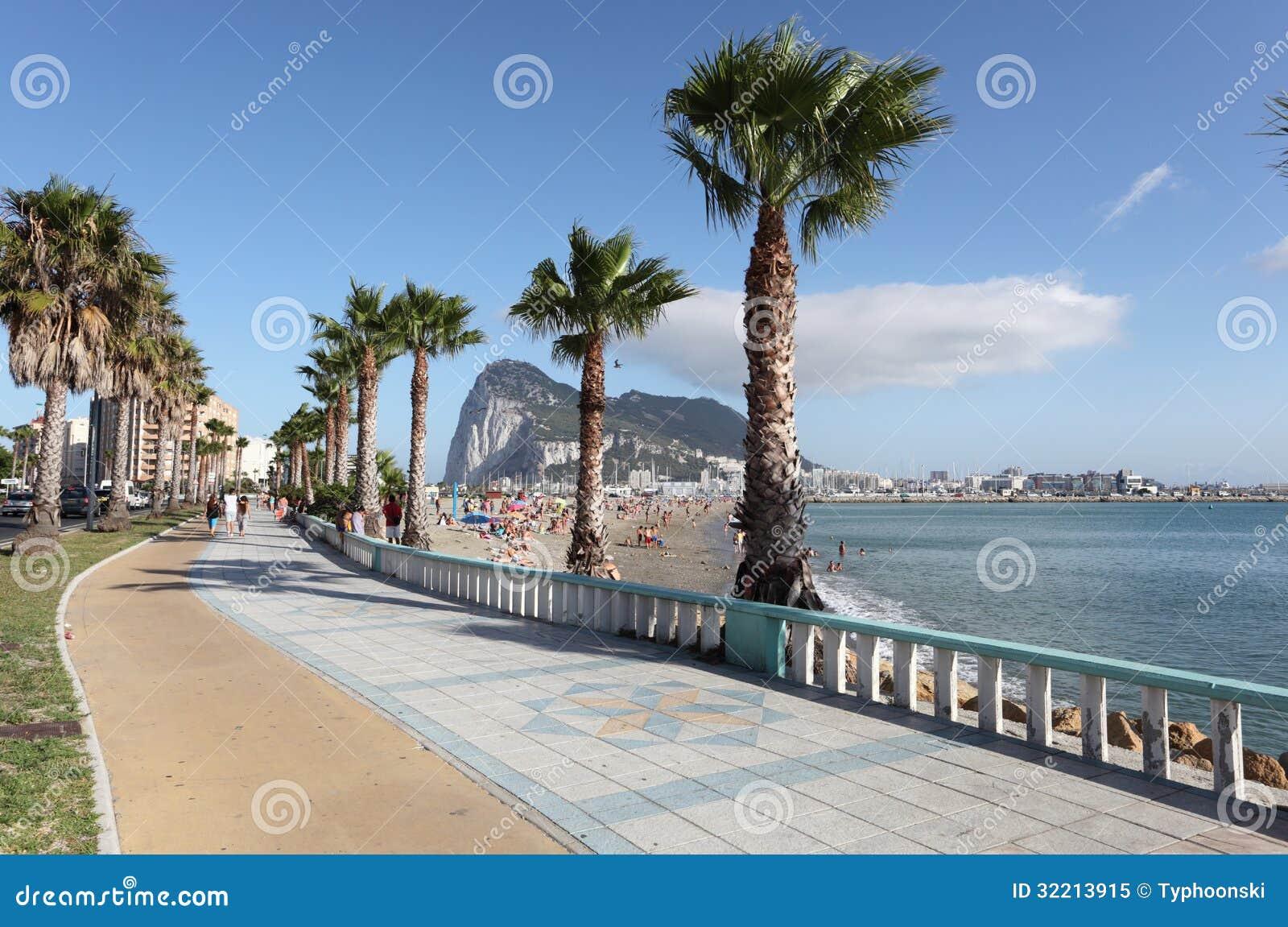 La Linea de la Concepcion Spain  city photo : Promenade in La Linea de la Concepcion, Spain. Rock of Gibraltar in ...