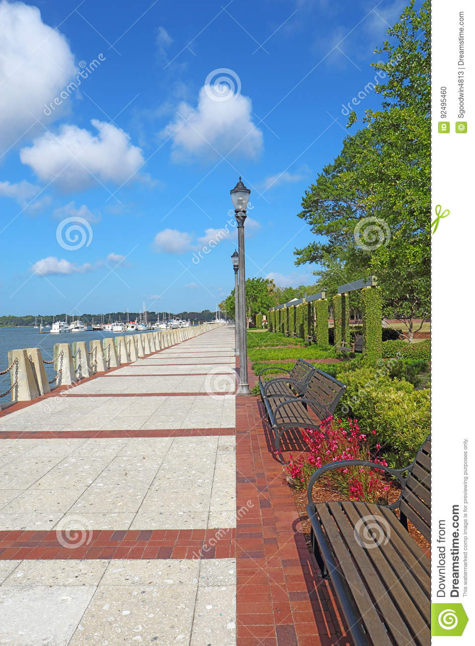 Promenade on the waterfront of Beaufort, South Carolina vertical