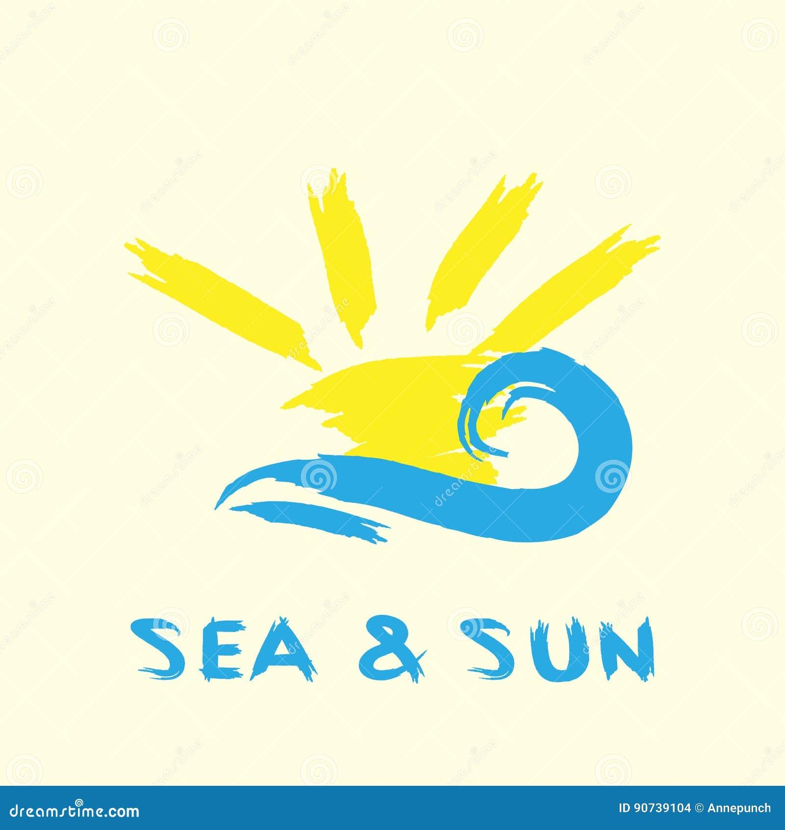 Promienie i fala Ręcznie pisany teksta morze, słońce i