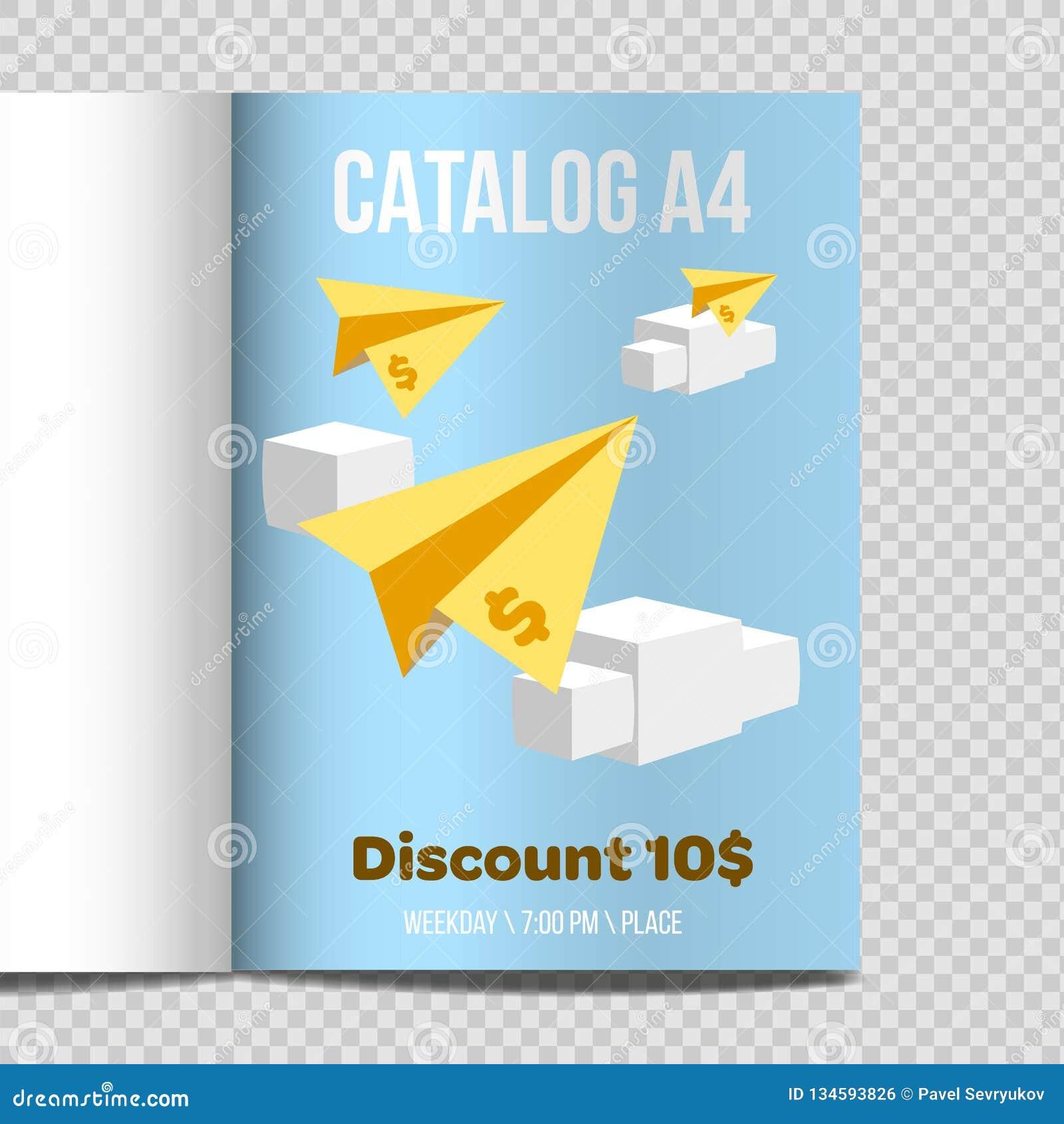 Promoção rápida da ilustração da folha do catálogo A4 do vetor
