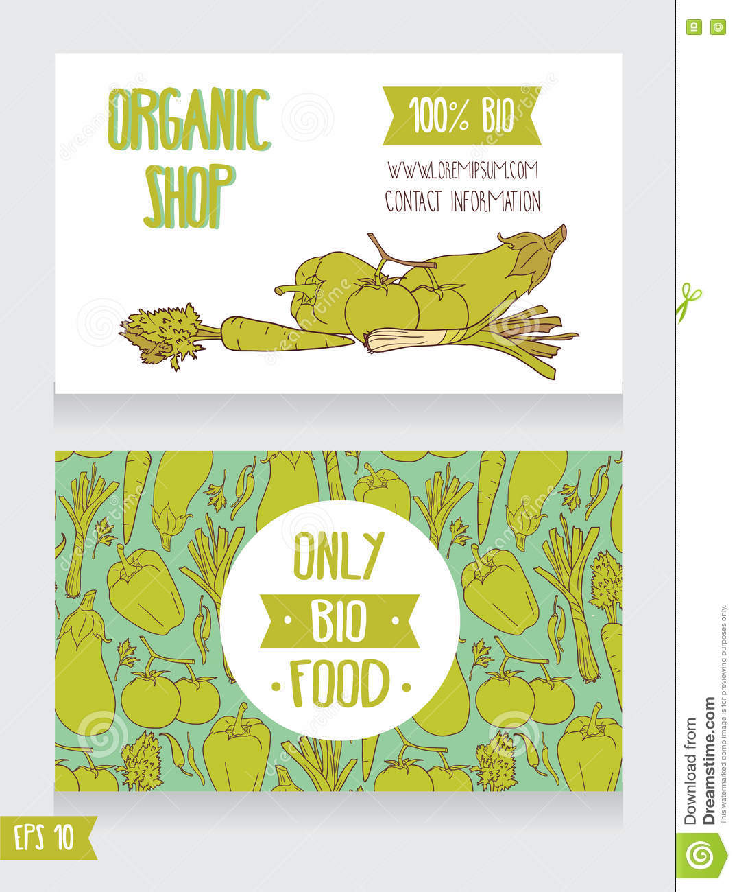 Promo Cards Template For Organic Foods Shop Stock Vector