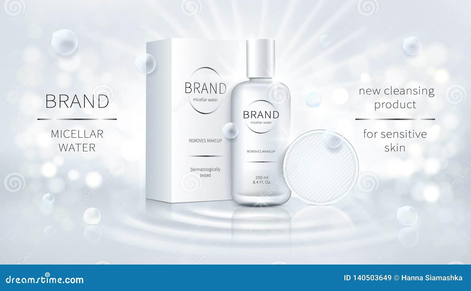 Promo cosmético del vector para el agua micelar