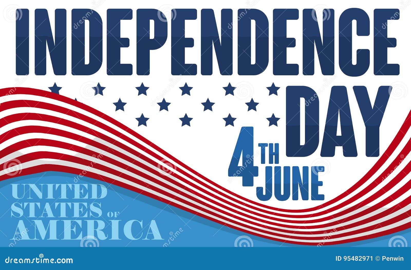 Promocyjny projekt dla Amerykańskiego dnia niepodległości z falowanie flaga, Wektorowa ilustracja