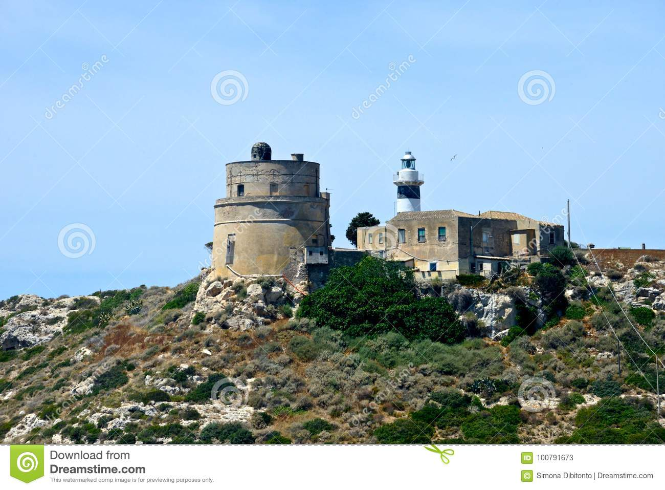 Promontory Of Calamosca With Lighthouse Stock Image - Image of ...