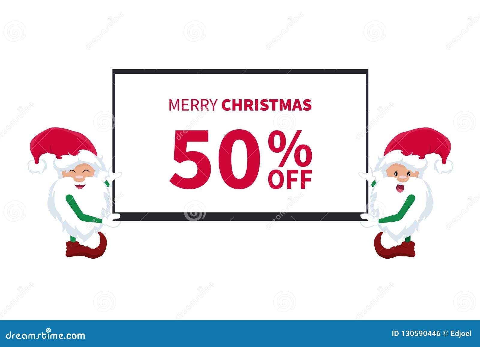 Promotiekortingskaart met kleine elf van de Kerstman met een TV