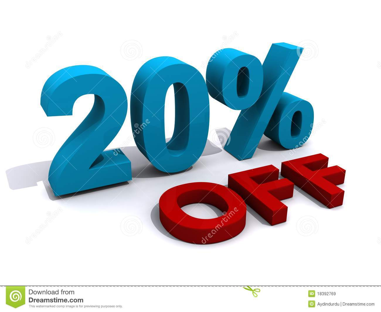 Promotional offer of a 20% discount. In blue and red against a white ...