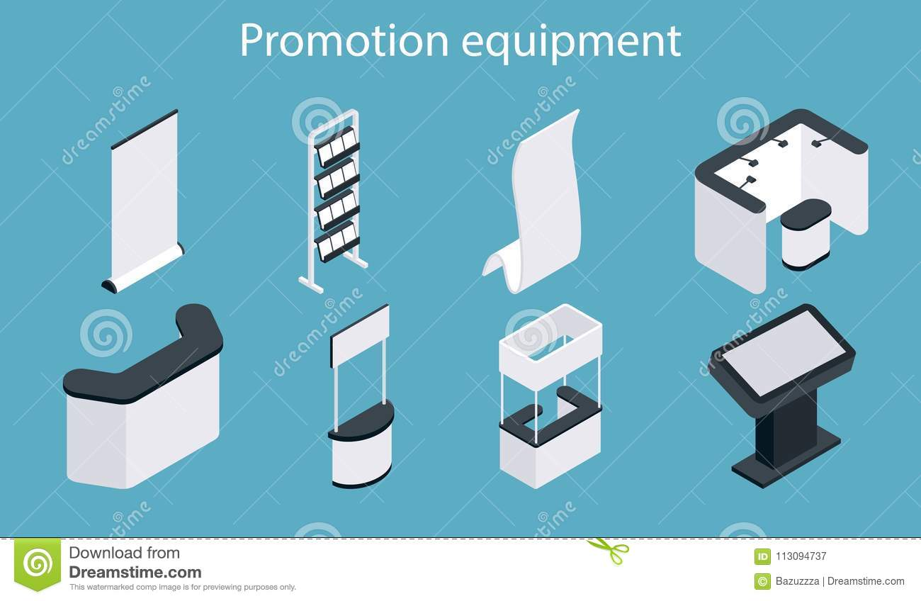 Exhibition Booth Icon : Promotion equipment vector flat isometric icon set stock vector