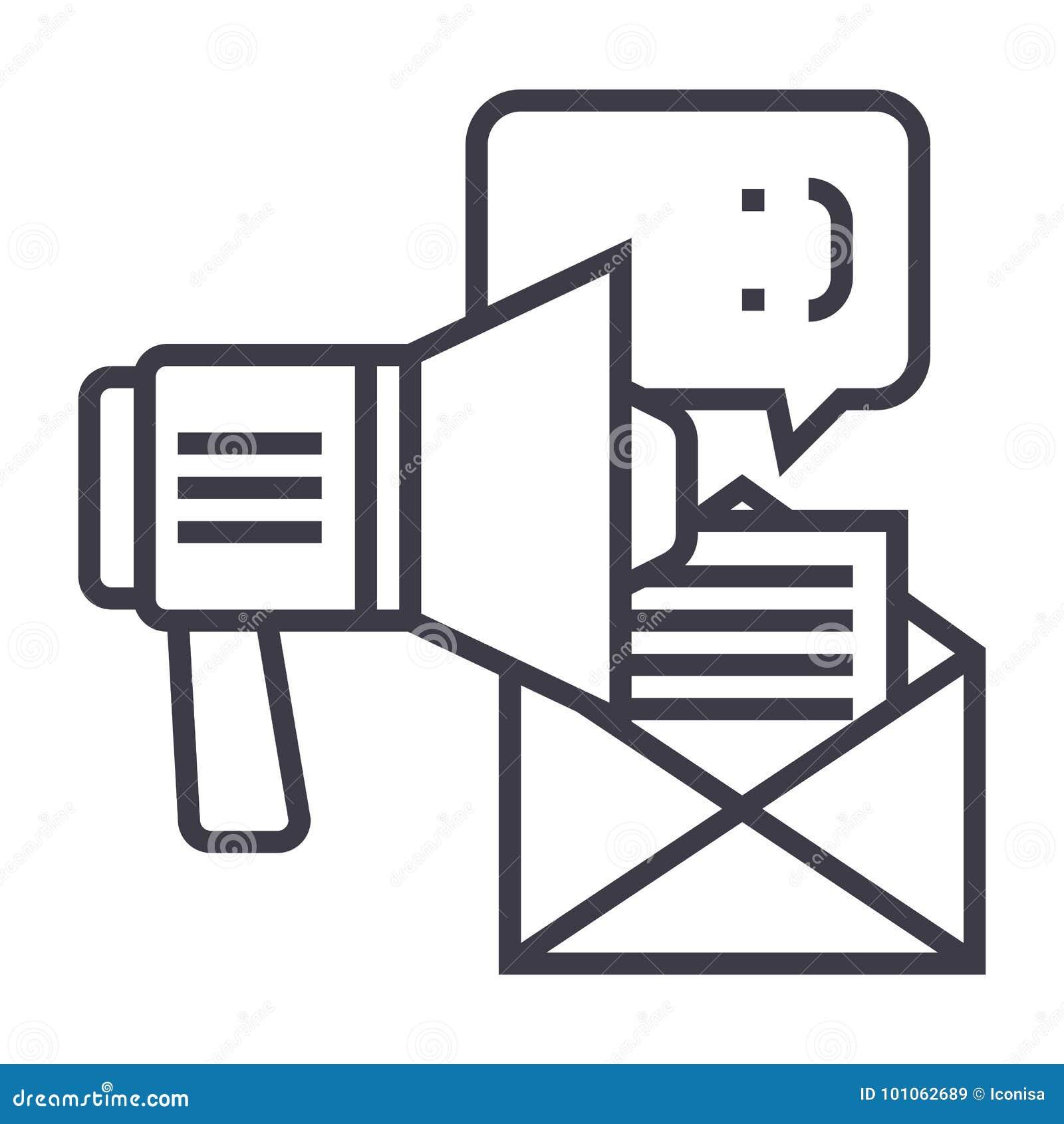 Promotion, la publicité, ligne icône, signe, illustration de vecteur de haut-parleur sur le fond, courses editable