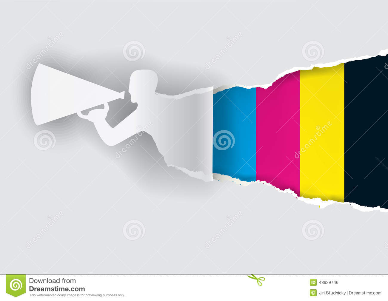 promotion man ripping paper with print colors royalty free stock image