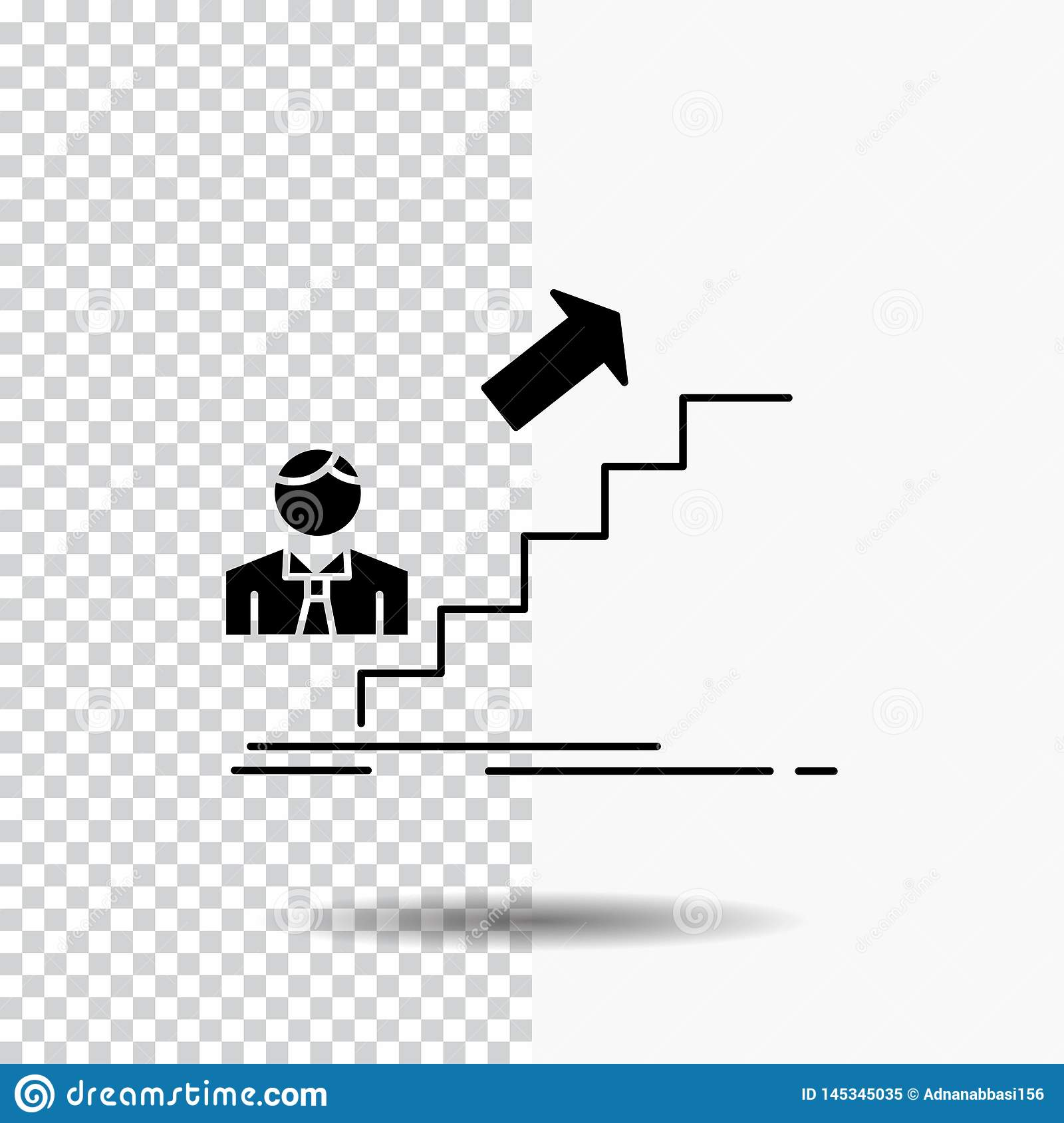 Promotion Success Development Leader Career Glyph Icon On Transparent Background Black Icon Stock Vector Illustration Of Concept Challenge 145345035