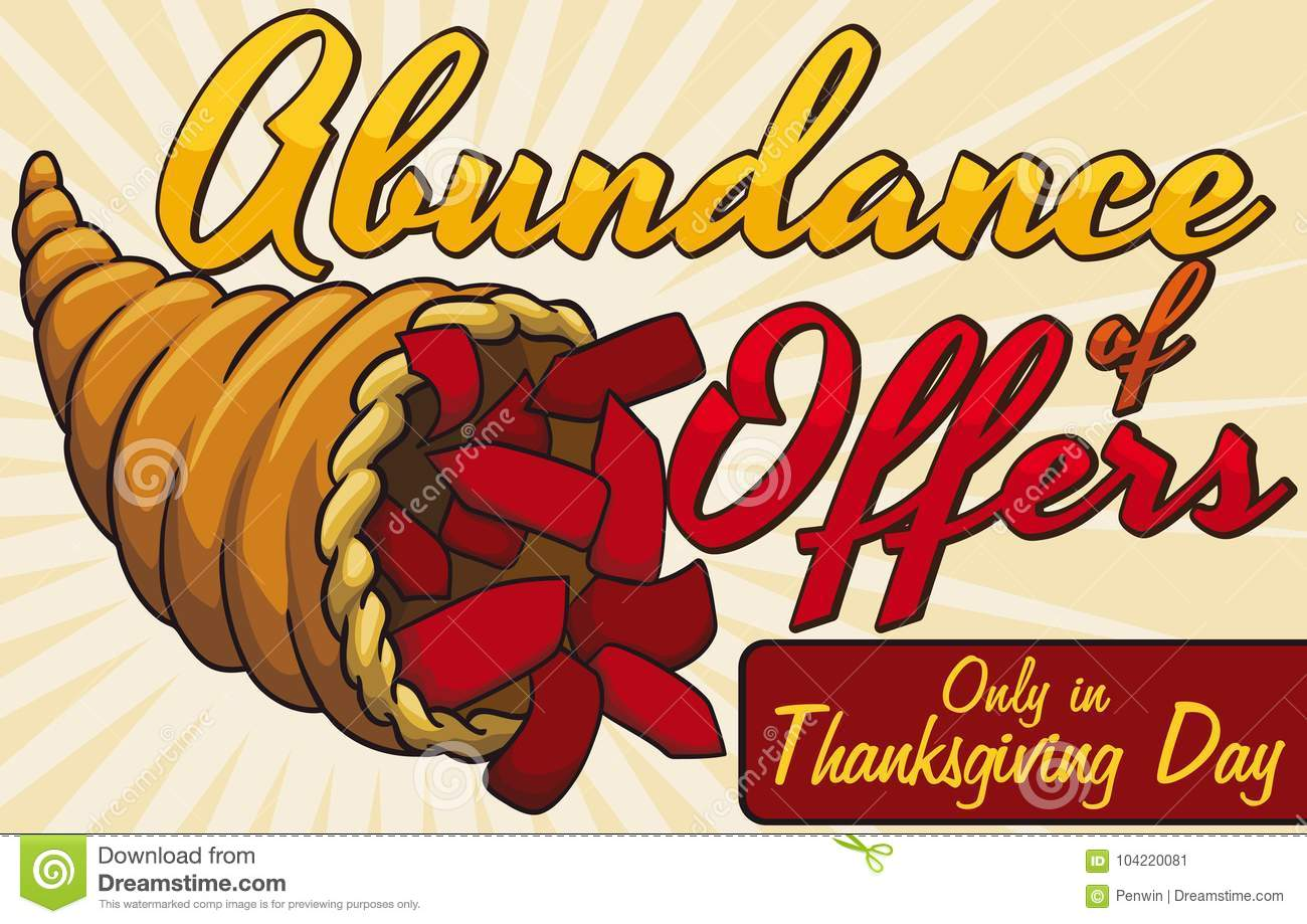 Traditional Cornucopia With Many Price Tags Promoting Thanksgiving Offers Vector Illustration Stock Vector Illustration Of Holiday Promo 104220081