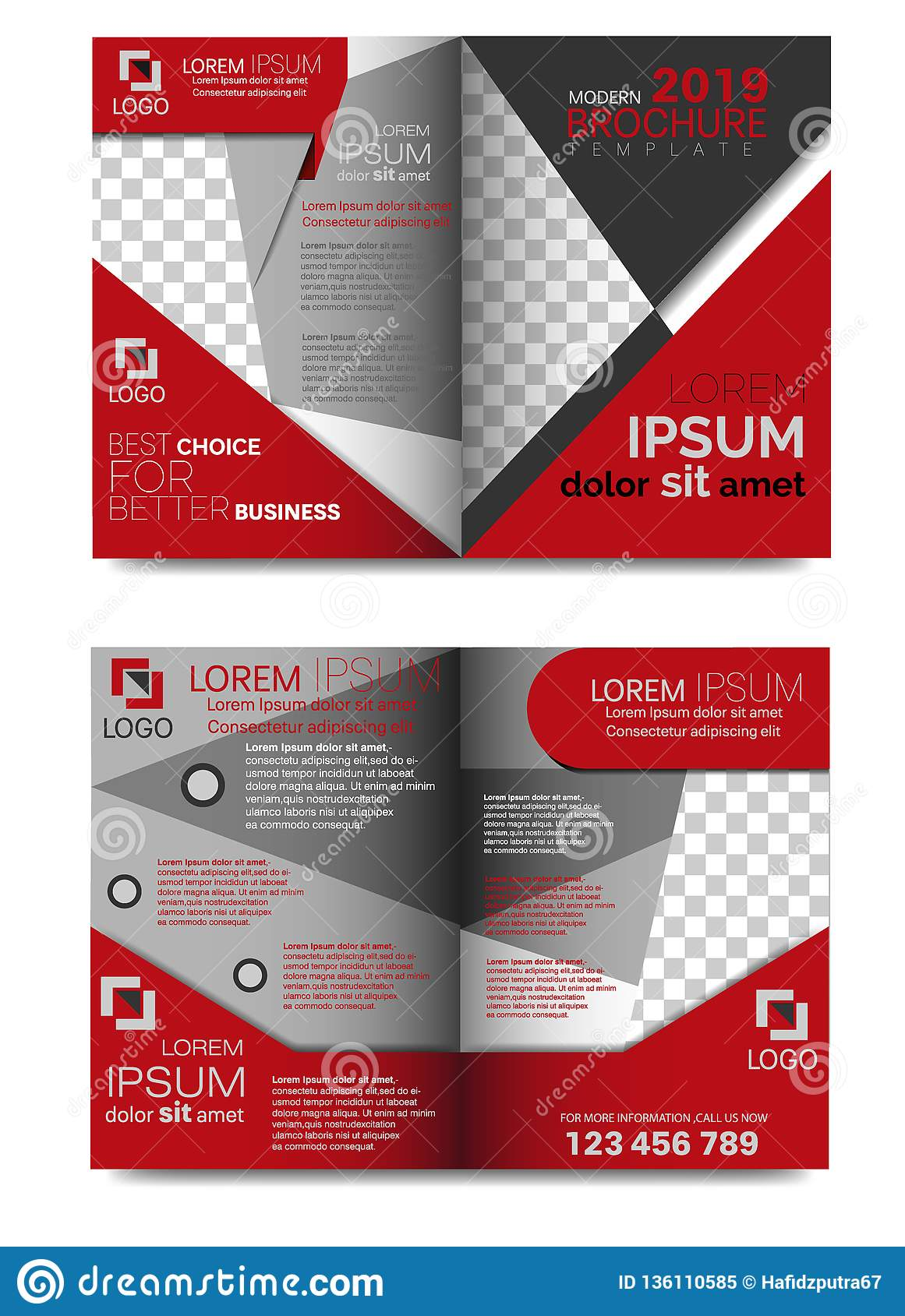 Promotional Brochure Template 4 Page Stock Vector Illustration Of
