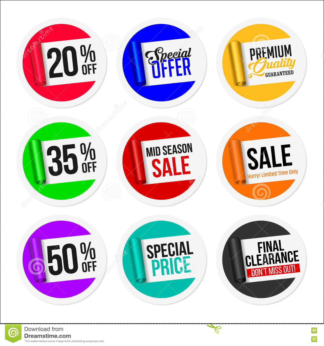 Promotional colorful sale stickers collection torn paper