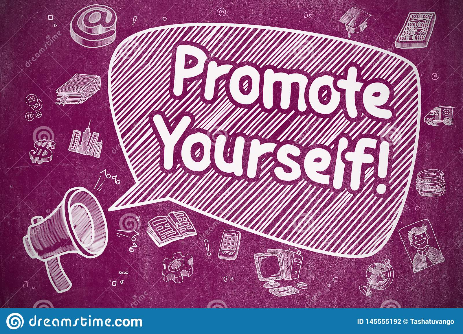 Promova-se - ilustração da garatuja no quadro roxo