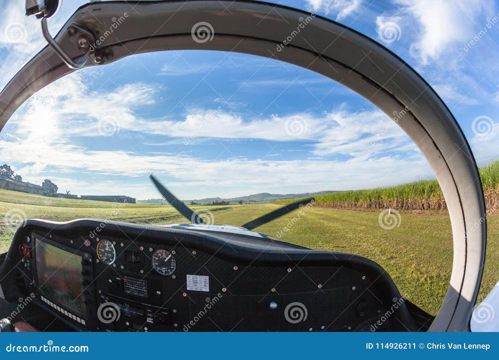 prop plane take off inside cockpit grass stock image image of