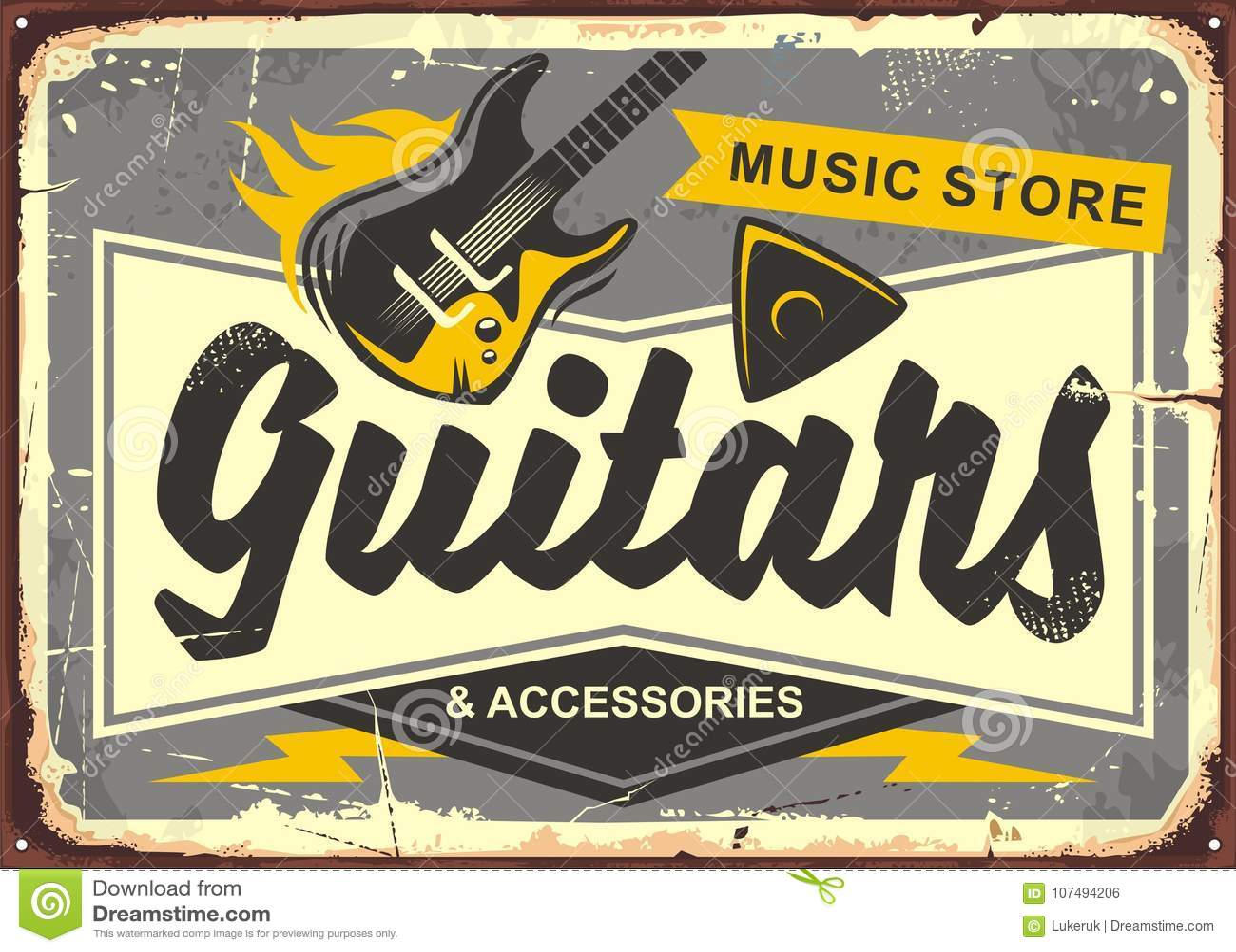 Propaganda retro da loja da guitarra