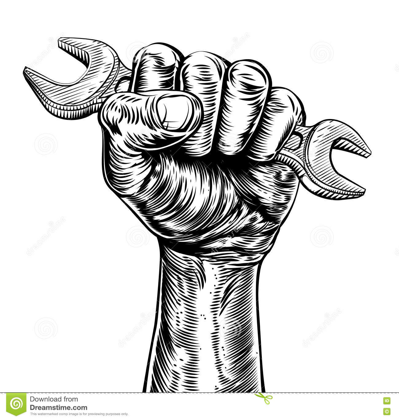 woodcut fist hand holding spanner wrench cartoon vector fist punch clipart punch hand clipart