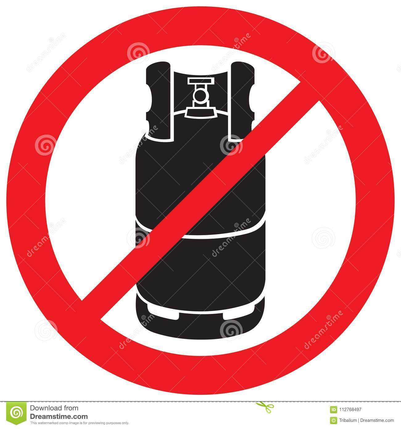 Propane Gas Cylinder Not Allowed Sign Stock Vector