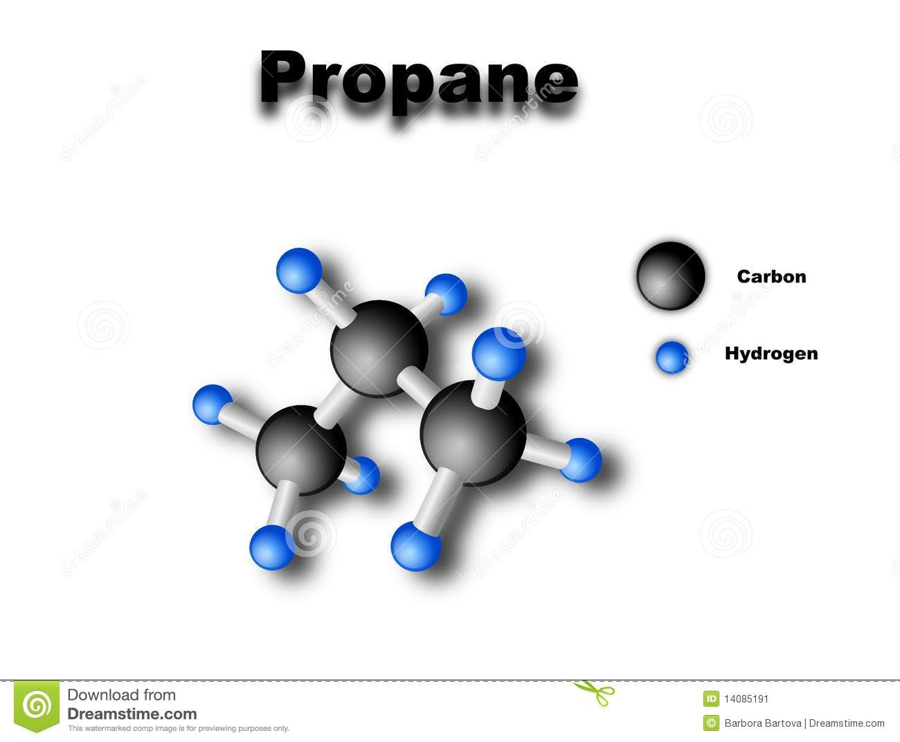 Vector drawing of propane molecule  with color key Molecular Structure Of Propane