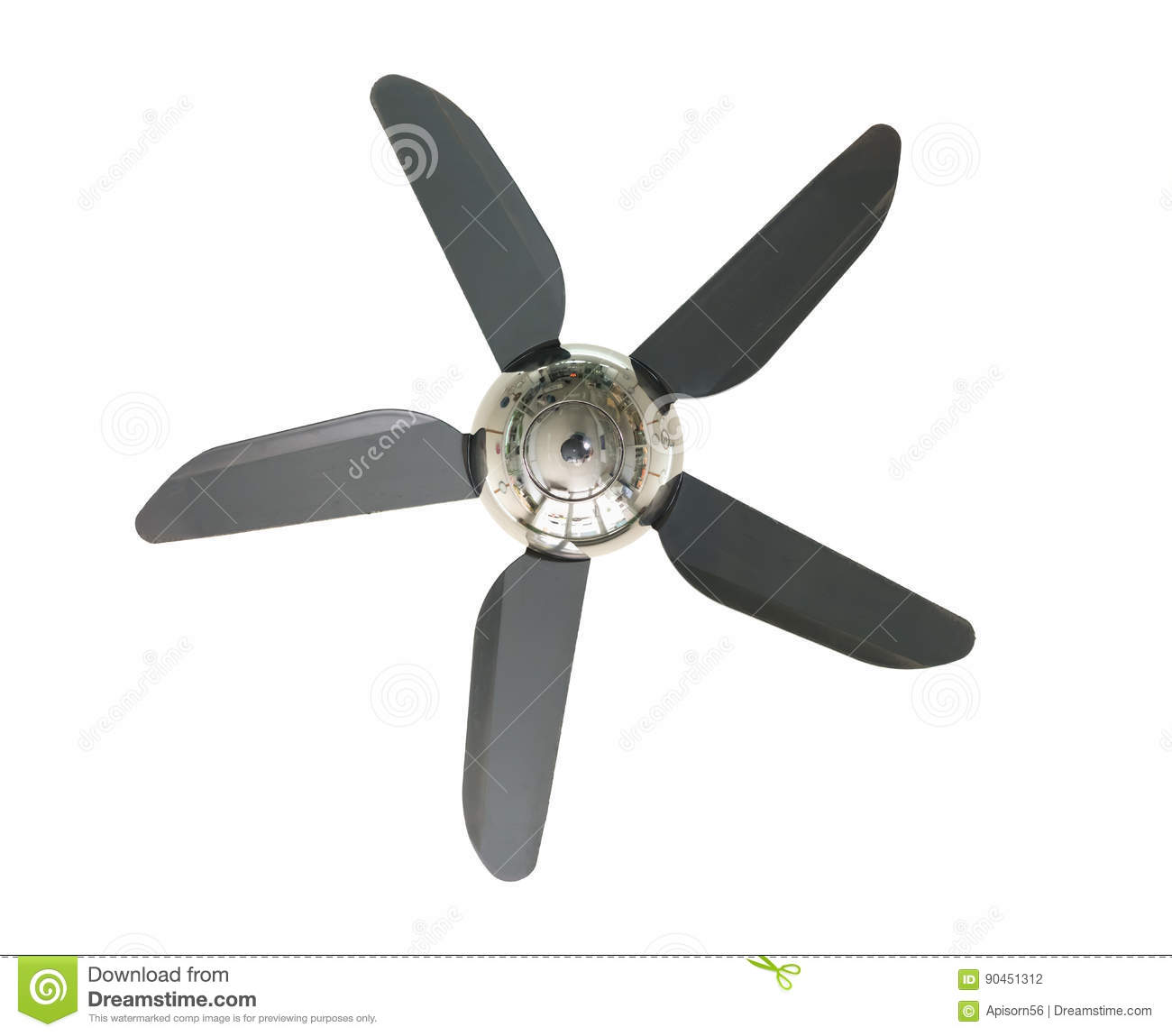 Propeller Ceiling Fan White : Propeller and ceiling fan isolated stock photo image