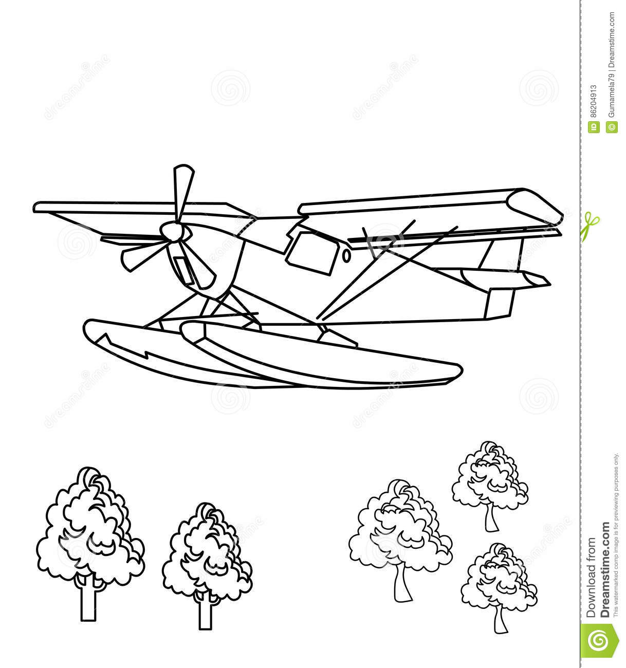 Propeller Plane Coloring Page Stock Illustration - Illustration of ...