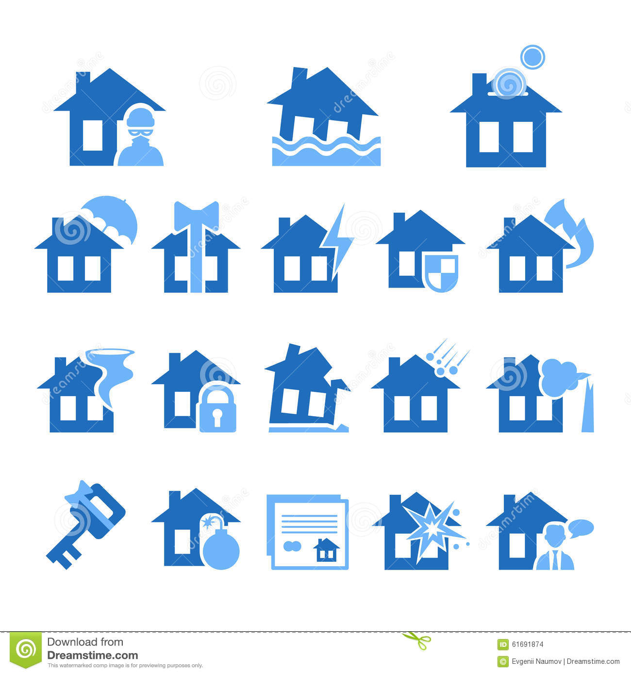 Home Decor Home Based Business: Property And House Insurance Icon Set. Vector Stock Vector