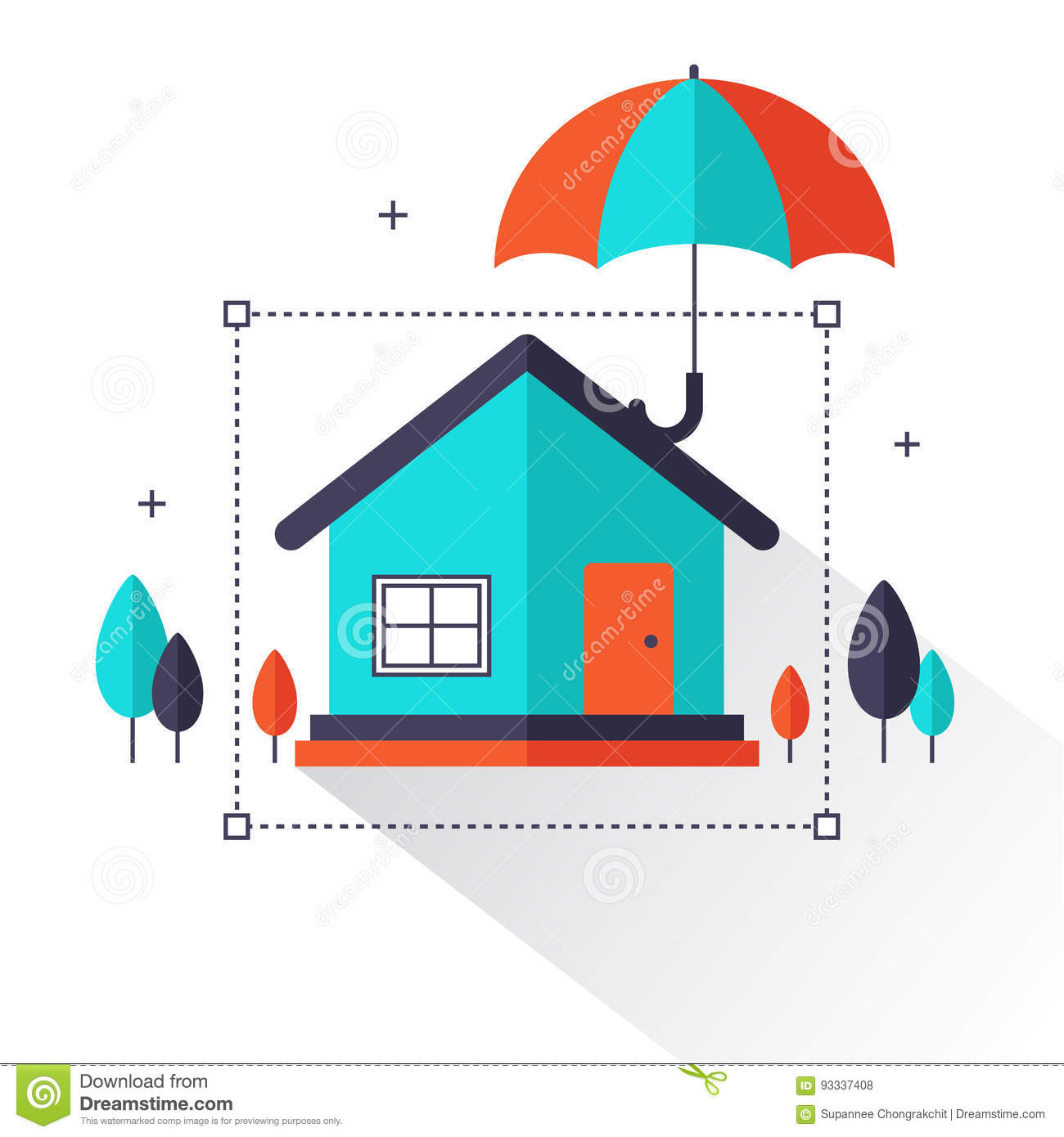 Property Insurance - Home Real Estate Protected Under Umbrella Flat ...
