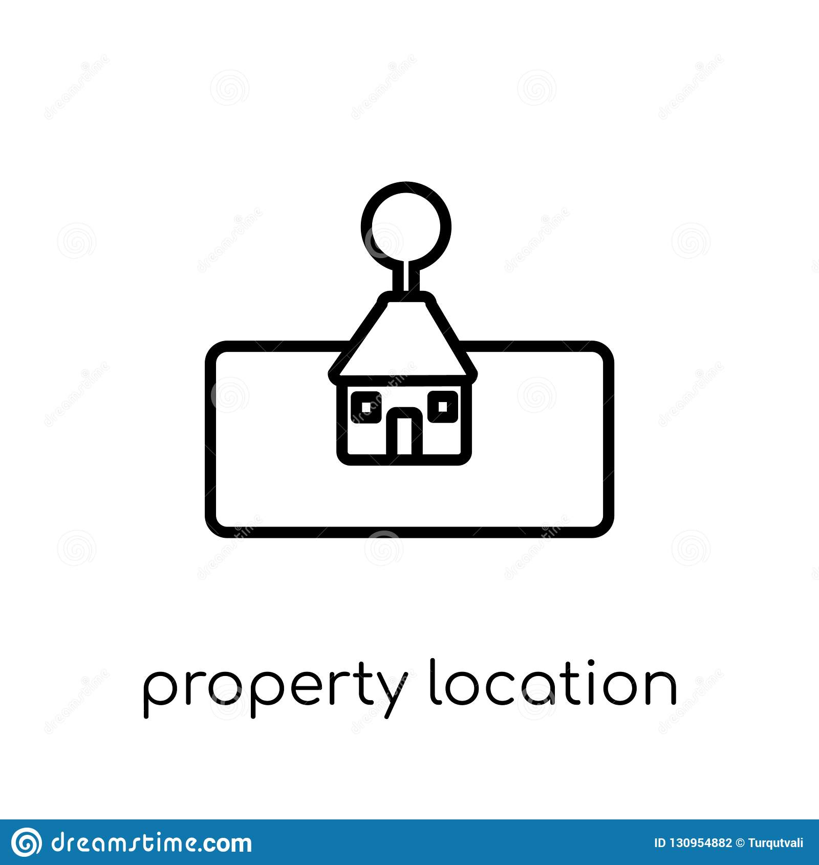 Property Location Icon  Trendy Modern Flat Linear Vector