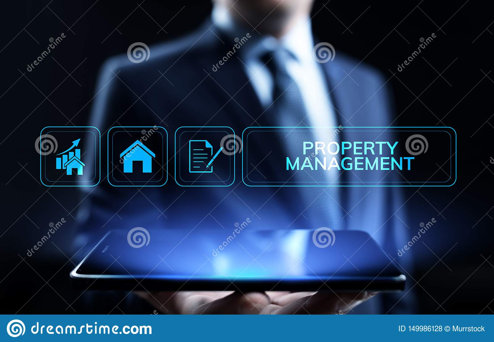Property management Is the operation, control, and oversight of real estate. Business concept.