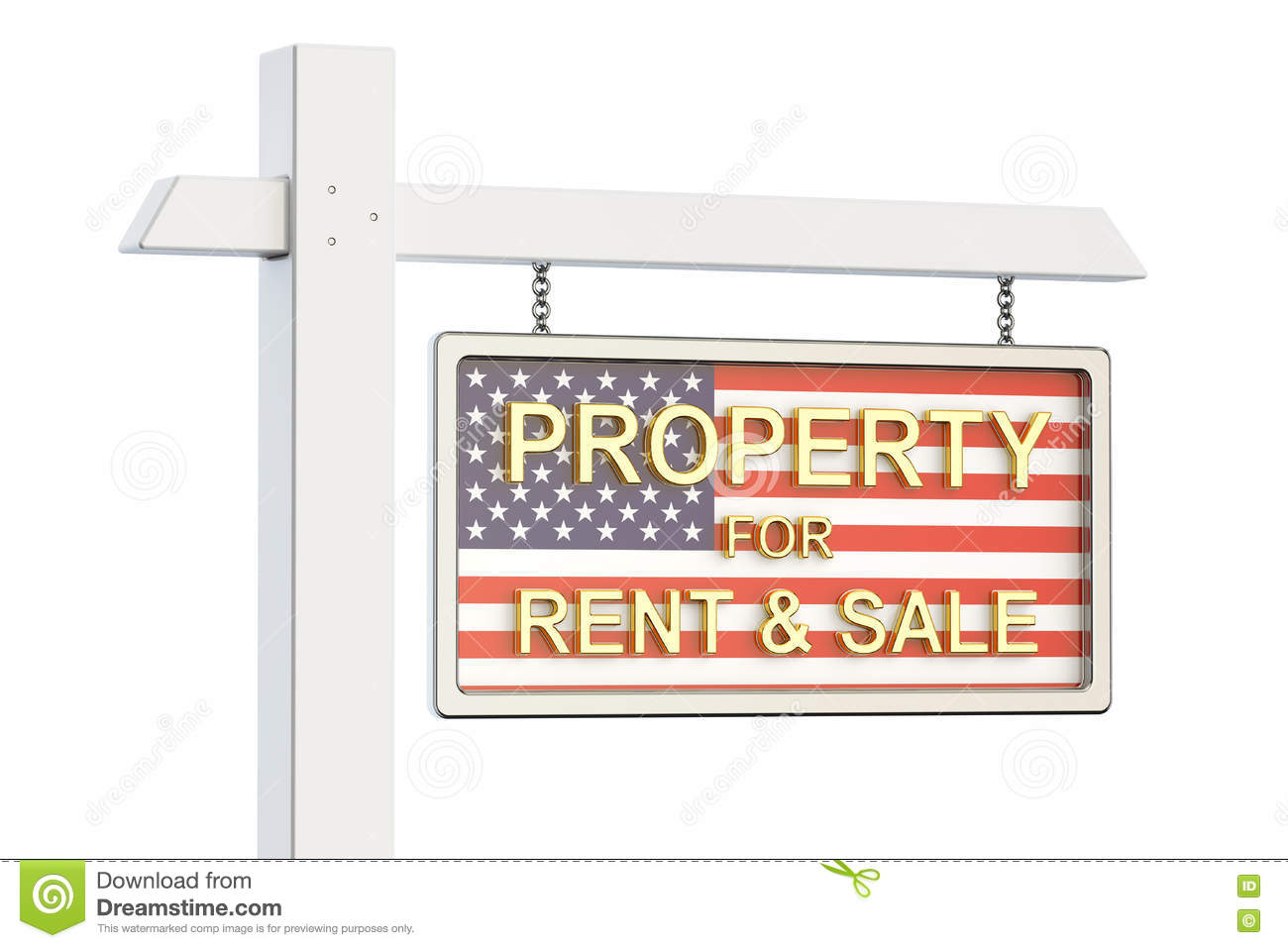 Property For Sale And Rent In Usa Concept Real Estate Sign 3d
