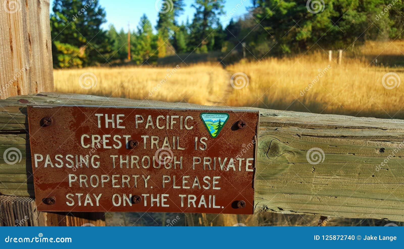 Propiedad privada en el rastro pacífico de la cresta