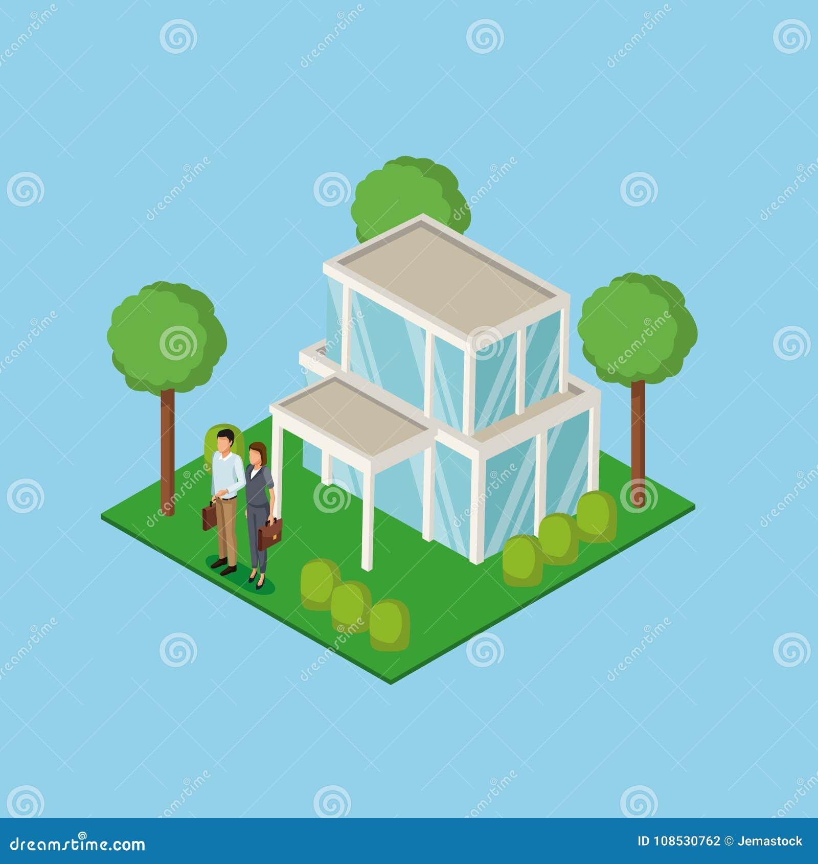 Propiedades inmobiliarias 3d de los pares del negocio