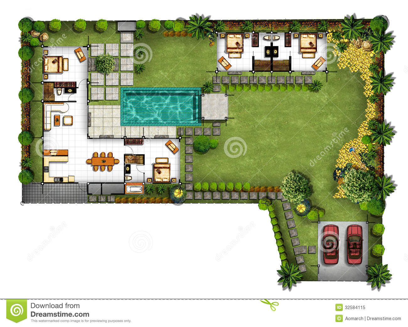 Plan de maison jardin for Plan amenagement jardin rectangulaire