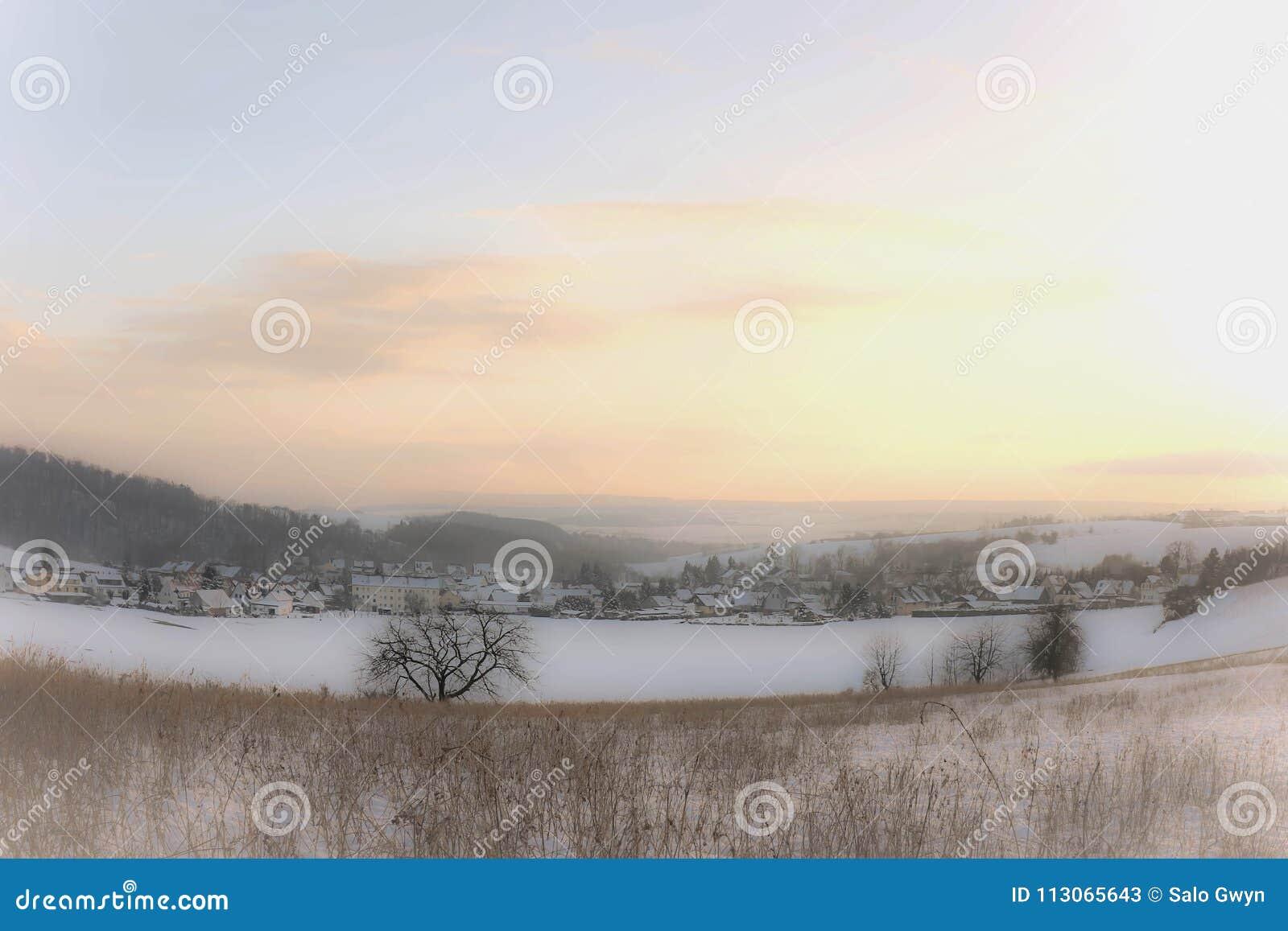 Proposta winterday no próximas de Nordhausen, mais baixas montanhas de Harz, Thuringia, Alemanha