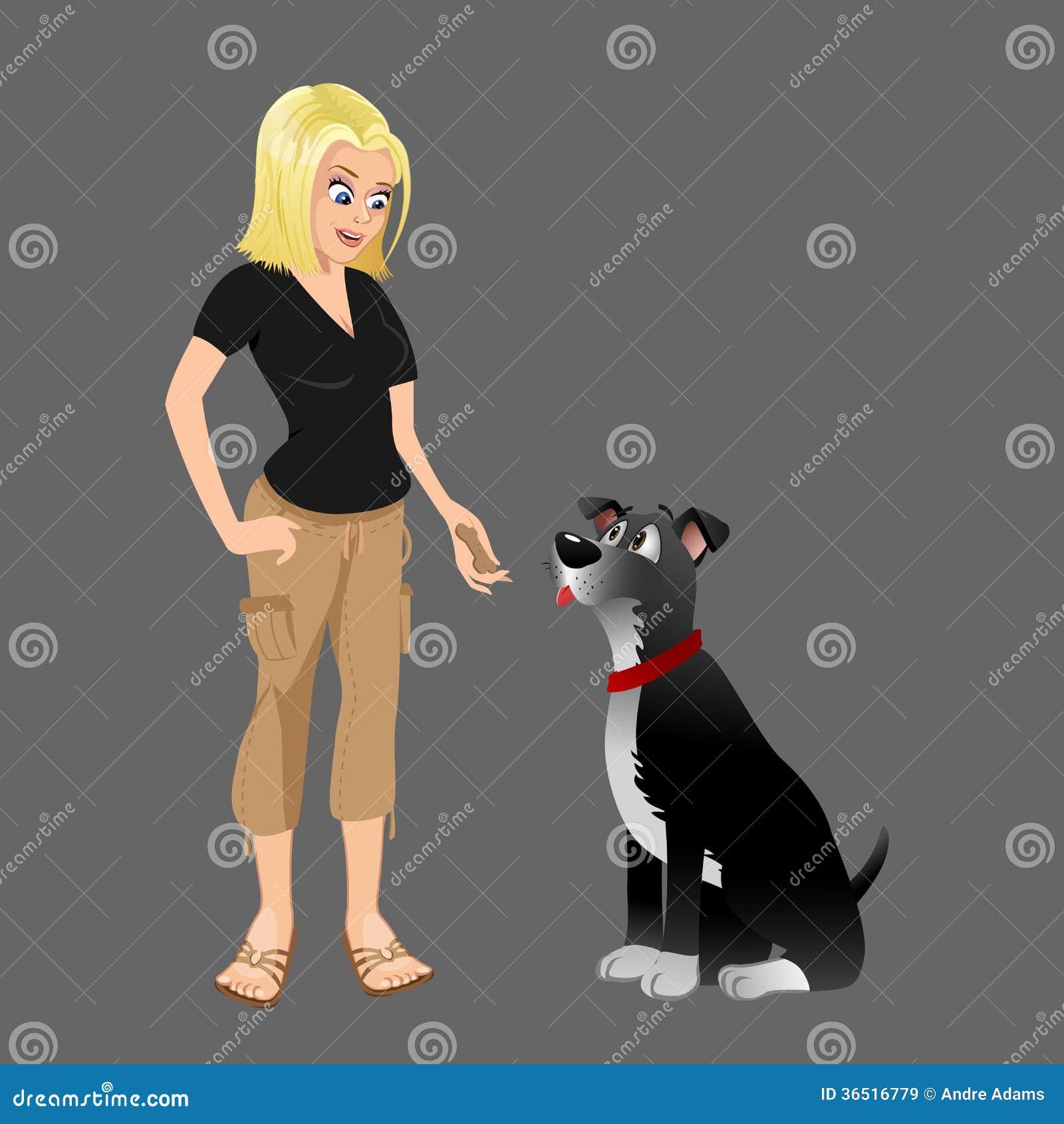 Propriétaire de chien donnant le festin 2