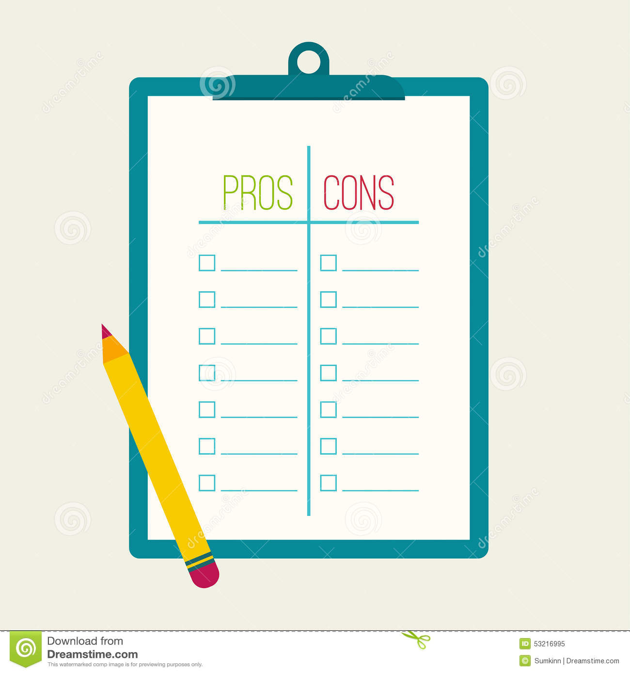 Classroom Layouts Pros And Cons : Pros and cons list stock vector image of checkbox