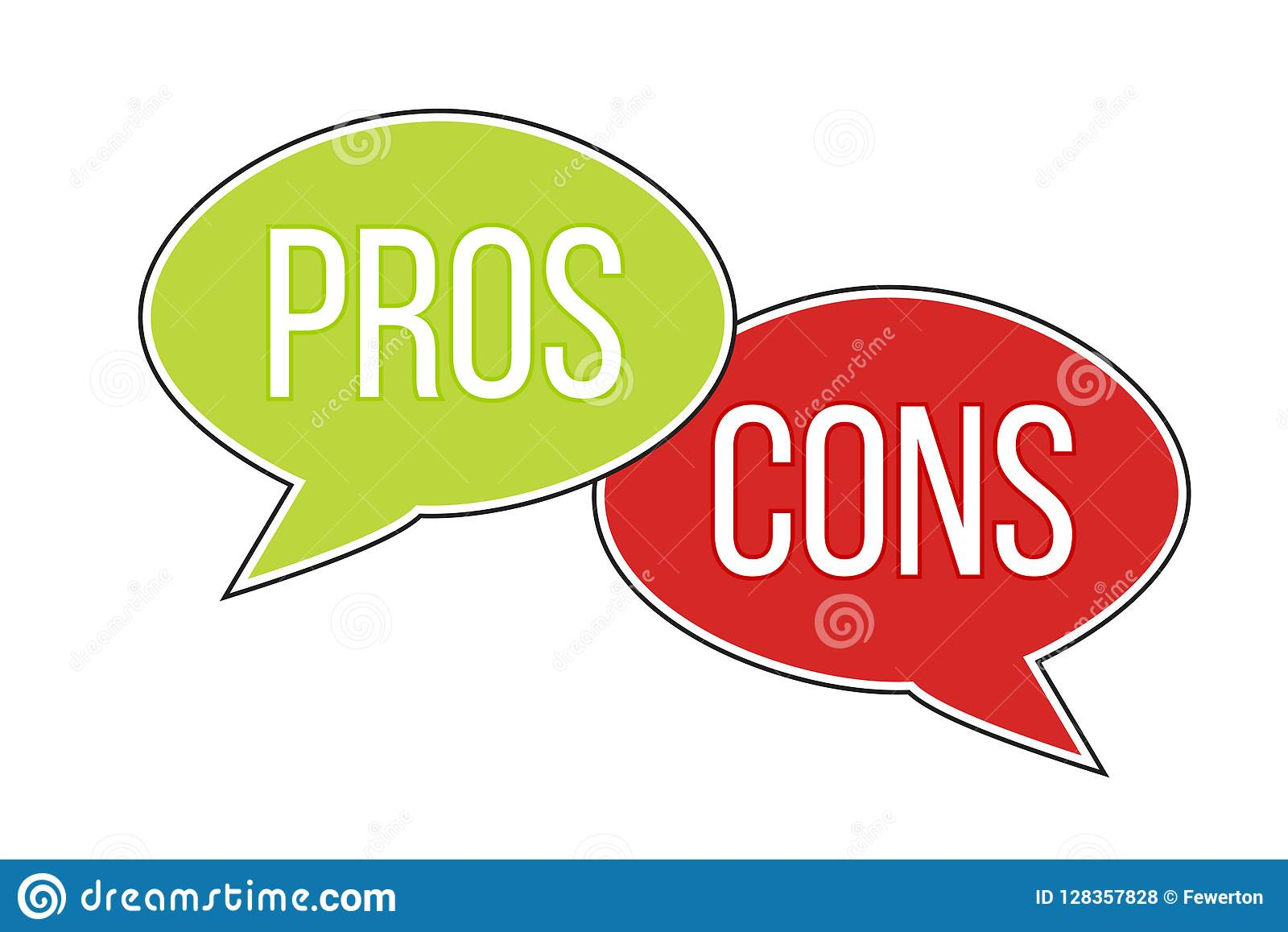 Pros versus cons arguments analysis red left green right word text on opposite balloon speech bubble
