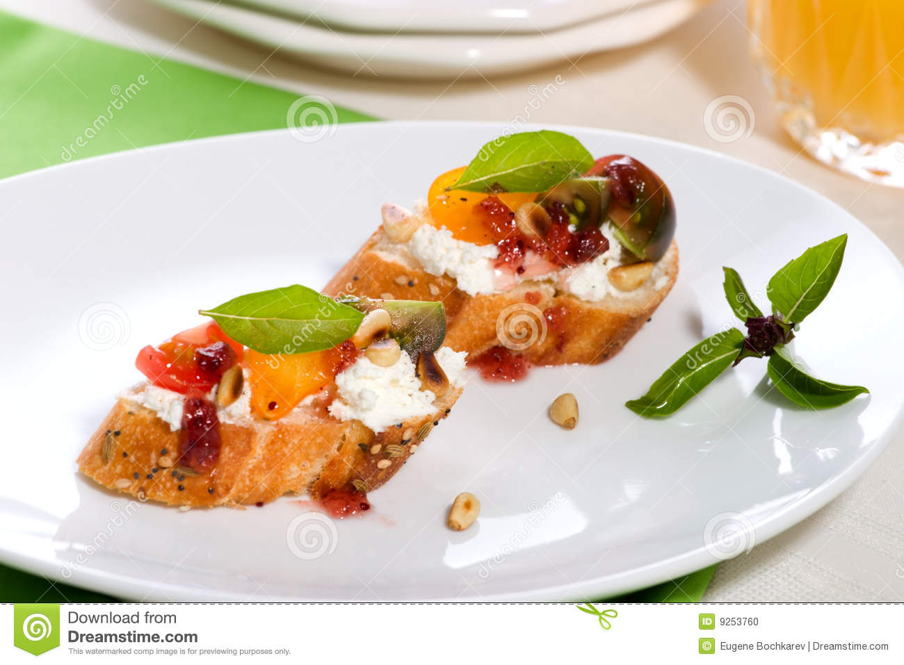 Prosciutto and blue cheese canapes stock photo image for Prosciutto and melon canape